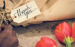 Closeupen av tackar dig att blomma buketten Royaltyfri Foto
