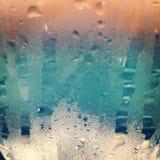 Kondensation på ett exponeringsglas Arkivfoton