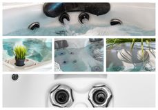 Closeupen av vatten i varmt bad badar på brunnsorten royaltyfri foto