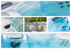 Closeupen av vatten i varmt bad badar på brunnsorten royaltyfria foton