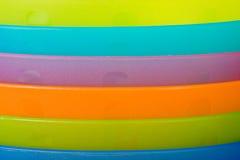 closeupen besegrar plast- arkivfoton