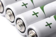 Closeupen för flera AA-batterier beskådar Arkivfoto