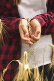 Closeupen tonade bilden av unga flickan som rymmer moget vete, gå i ax i händer arkivbilder
