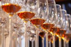 Closeupexponeringsglas med konjakställningen i linje Nedanfört beskåda Konjak för whisky för begreppsdegustationandar, porto som  royaltyfria bilder