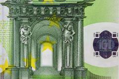 Closeupfoto av en del av hundra hundra euroanmärkning Arkivfoton