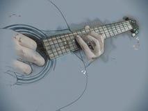 Closeupfotoet av en akustisk gitarr spelade vid en man royaltyfri bild