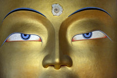 Closeupframsida av den guld- Buddhastatyn, himalayasna, Tibet Arkivfoto