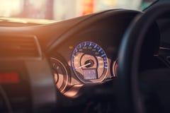 Closeupinstrumentbräda av milkostnadbilen Royaltyfria Foton
