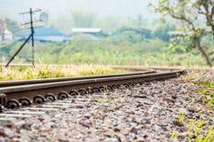 Closeupjärnväg i lumphun Thailand Arkivfoto