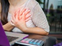 Closeupkvinna som har hjärtinfarkt royaltyfri foto