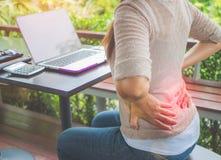 Closeupkvinnan med händer som rymmer hennes midja tillbaka smärtar in royaltyfri bild