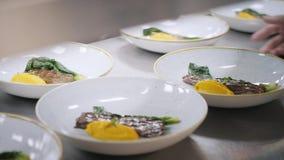 Closeuplinje av plattadisk Gruppkockar som är upptagna i kommersiellt kök av den fina äta middag restaurangen Personal i en resta lager videofilmer
