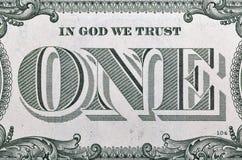 Closeupmacro del billete de dólar de los E.E.U.U. uno Fotos de archivo libres de regalías