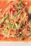 Closeuppapayasallad av thai foods, SOMTUM Arkivbild