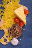 Closeuppasta, ost, tomater, kryddor Arkivfoto