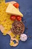 Closeuppasta, ost, tomater, kryddor Royaltyfri Foto