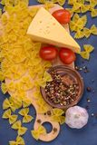 Closeuppasta, ost, tomater, kryddor, vitlök Arkivfoton