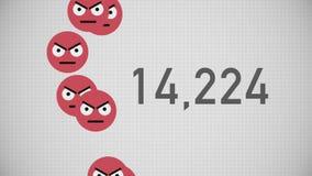 Closeupräknare av Unlikes som ackumuleras med ilskna Emojis stock illustrationer