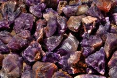 Closeups of Canadian Amethysts when wet. Closeup of Beautiful Canadian Amethysts from Northern Ontario, Canada while wet Stock Photos