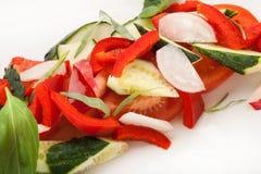 Closeupsallad från kulöra nya grönsaker Arkivbilder