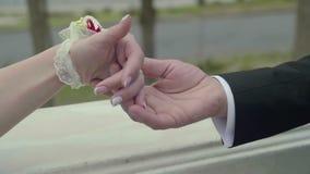 Closeupsikt av att trycka på händer av nygifta personer lager videofilmer