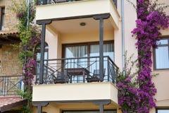 Closeupsikten av hotellbalkongen med bougainvillean blommar Arkivbilder