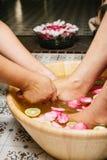 Closeupskottet av fot för en kvinna doppade i vatten med kronblad i en träbunke Royaltyfria Bilder