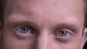 Closeupstående av den unga stiliga caucasian manliga framsidan med blåa ögon som ser raka på kameran med att le ansiktsbehandling arkivfilmer