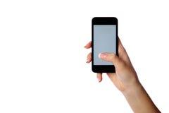 Closeupstående av en hållande smartphone för kvinnlig hand Arkivfoto