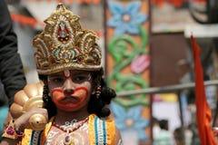 Closeupstående av ung boyin makeupen som Hanuman Royaltyfria Bilder