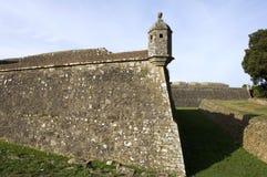 Closeupstadsväggar av den portugisiska fästningen, Valenca arkivbilder