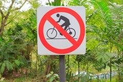 Closeuptecken ingen cykel Arkivfoton