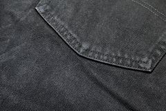 Closeuptextur av jeans för bakfickasvartgrov bomullstvill royaltyfri bild