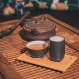 Closeupuppsättning av Kina te Arkivfoton