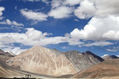 Closeview of the beautiful ophiolite mountain around  Pangong lake, ladakah Stock Images