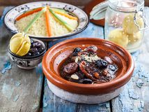 Free Closeview Of Tajine Of Beef With Prunes And Almonds. In Tradiotional Moroccan Dish. Royalty Free Stock Photos - 106965568