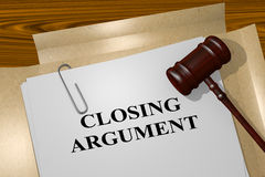 Closing Argument - legal concept. 3D illustration of CLOSING ARGUMENT title on legal document Royalty Free Stock Photo