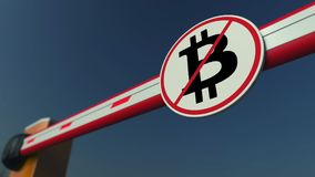Barrier gate with Bitcoin prohibition sign. Cryptocurrency ban conceptual 3D rendering. Closing arm barrier with sign Royalty Free Stock Images