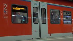 Closing automatic doors of subway train in Frankfurt. FRANKFURT, GERMANY - JULY 01, 2016: Modern train closing automatic doors before departure. Traveling by stock video