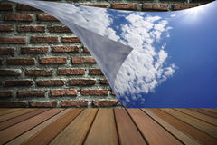 Closing the brick wall with blue sky Stock Photos