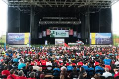 Closing Ceremony of Robotics Competition in Costa Rica for students around the world between the age group of 9 to 25 years. San Jose, Costa Rica - November 12 stock photos