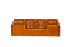 Closing date 2012 year on vintage wooden calendar Stock Image