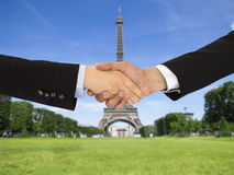 Closing a deal in Paris Royalty Free Stock Image