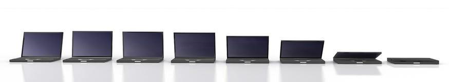 Closing des schwarzen Laptops lizenzfreie abbildung