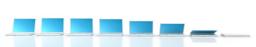 Closing des weißen Laptops stock abbildung