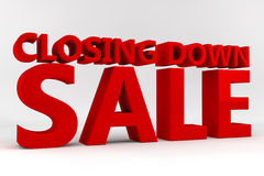 Closing Down Sale. Written in red 3d letters on a white background Stock Photo