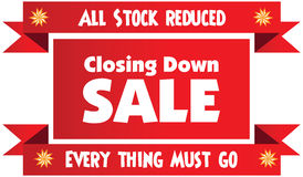 Closing down sale label. Or badge isolated on white background. All stock reduced. Everything must go royalty free illustration