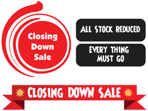 Closing down sale label. Or badge isolated on white background. All stock reduced. Everything must go vector illustration