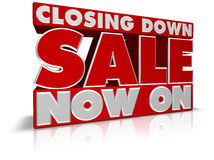 Closing Down Sale Now On Stock Photo