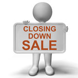 Closing Down Sale Sign Showing Store Bankrupt Royalty Free Stock Images
